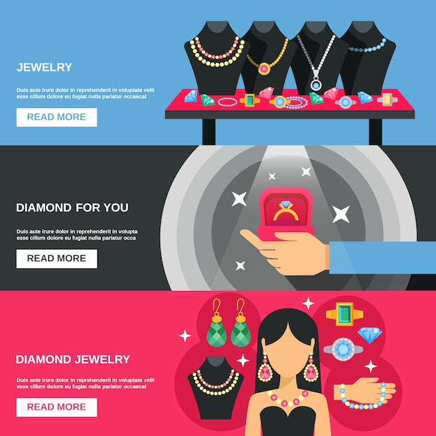 Jewelry banners set Free Vector