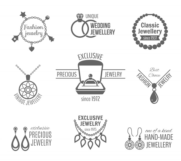 Jewelry black label set of unique classic vintage jewellery isolated vector illustration Free Vector