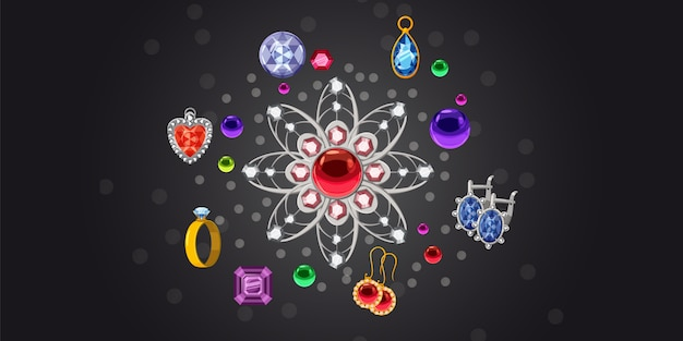 Jewelry brooch collection horizontal background Premium Vector