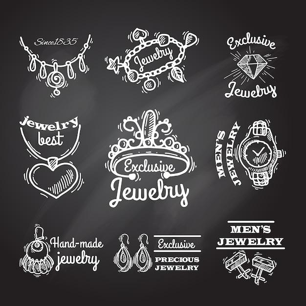 Jewelry chalkboard emblems Free Vector