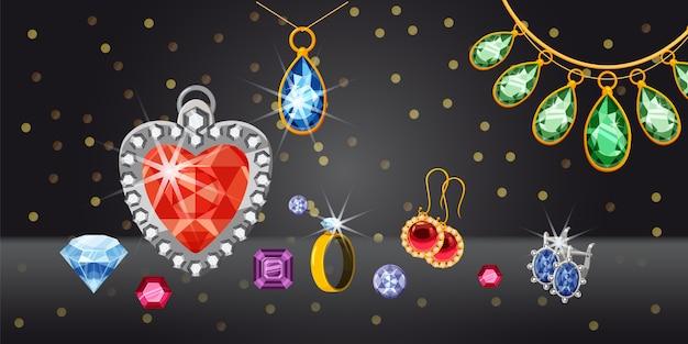 Jewelry collection horizontal background Premium Vector