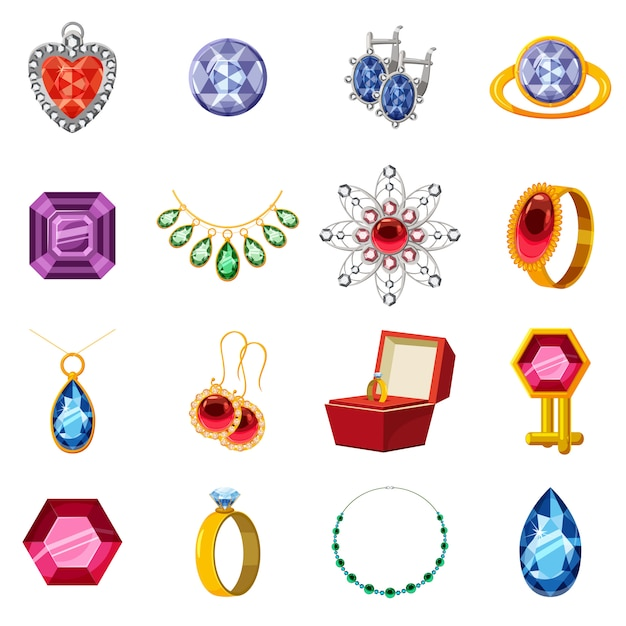 Jewelry collection icons set, cartoon style Premium Vector