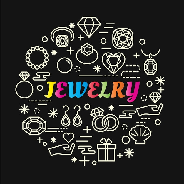 Jewelry colorful gradient with line icons set Premium Vector