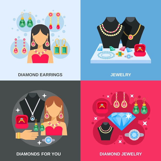 Jewelry concept icons set Premium Vector