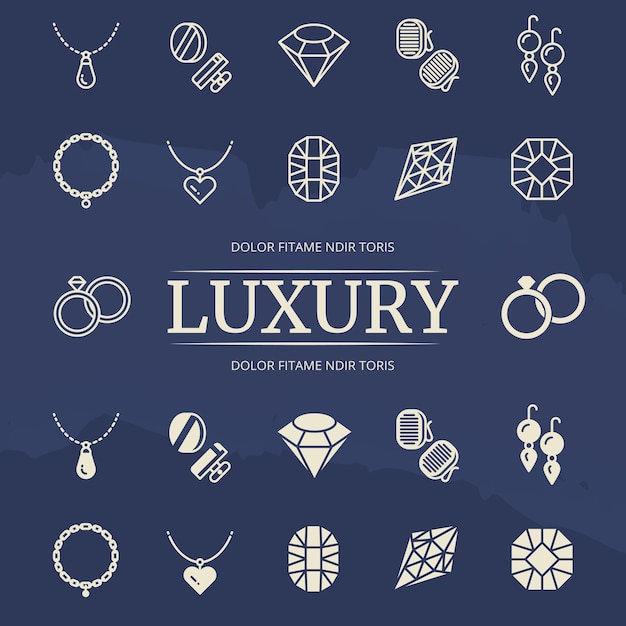 Jewelry and diamonds line and silhouette icons set Premium Vector