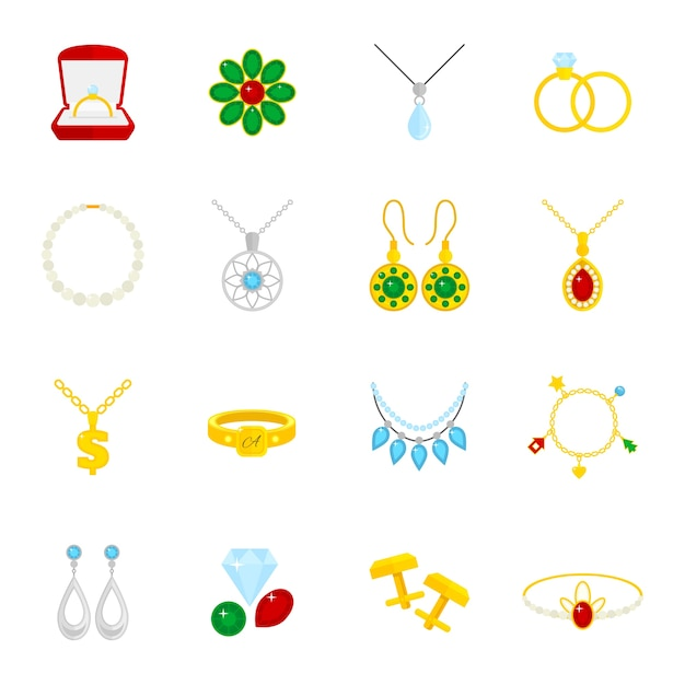 Jewelry Flat Icons Set Of Diamond Gold Fashion Expensive Accessories Isolated Vector Ilration