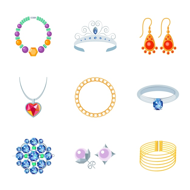 Jewelry Flat Icons Set Of Necklace Tiara Earrings Isolated Vector Ilration