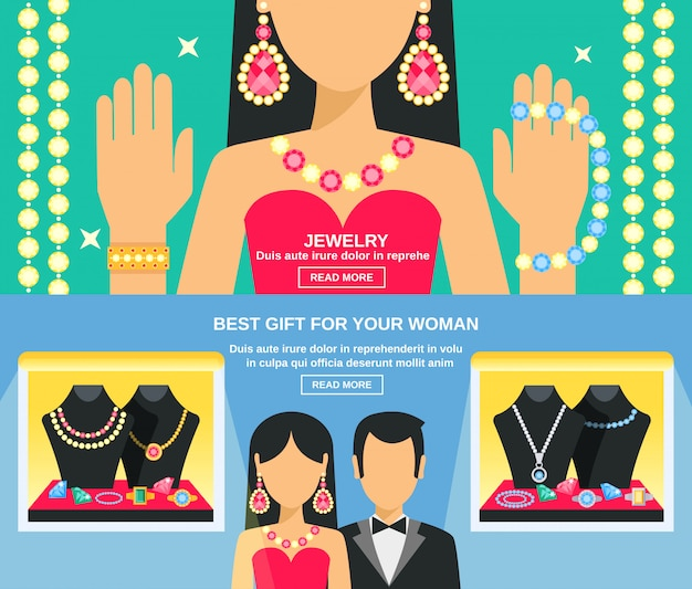 Jewelry and gifts for women banners set Premium Vector