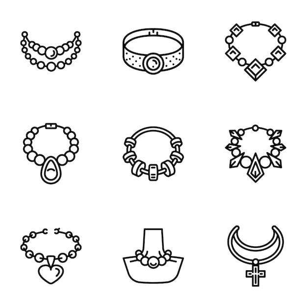 Jewelry icon set, outline style Vector | Premium Download