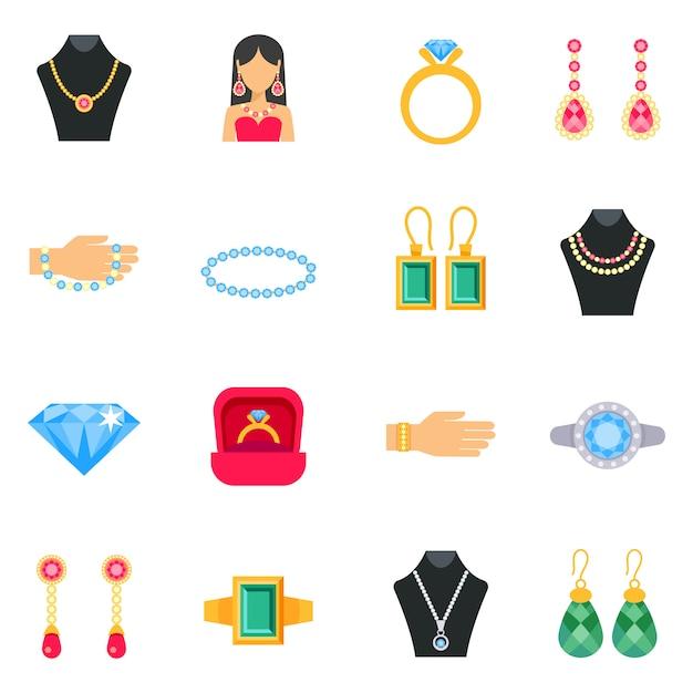 Jewelry icons set Premium Vector