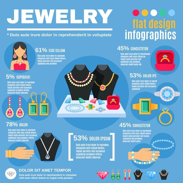 Jewelry infographic set Free Vector