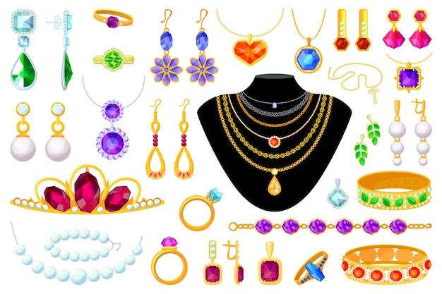 ジュエリーアイテム。ティアラ、ネックレス、ビーズ、リング、イヤリング、ブレスレット、ブローチ、チェーン、ペンダントイラスト。ゴールド、ダイヤモンド、パール、宝石の貴重なアクセサリーセット白い背景の上 Premiumベクター