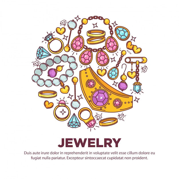 Jewelry items collection in round shape on white Premium Vector
