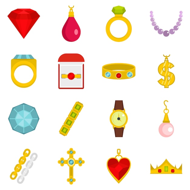 Jewelry items icons set in flat style Premium Vector