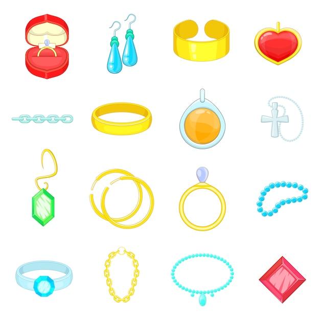 Jewelry items icons set Premium Vector