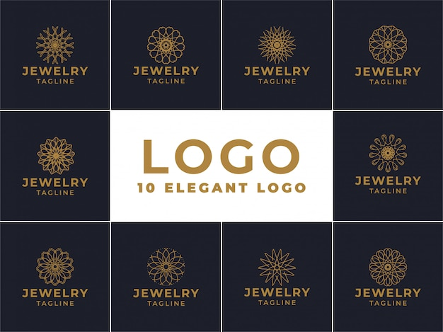 Jewelry logo design, emblem for luxury products, hotels, boutiques, jewelry, oriental cosmetics, restaurants, shops and stores Premium Vector
