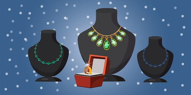 Jewelry marriage offer horizontal background Premium Vector