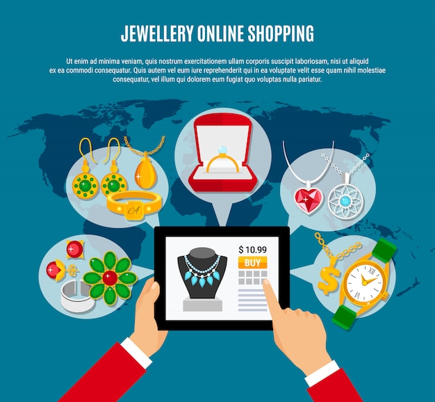 Jewelry online shopping composition Free Vector