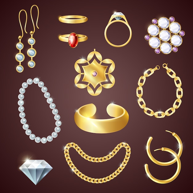 Jewelry realistic set Free Vector