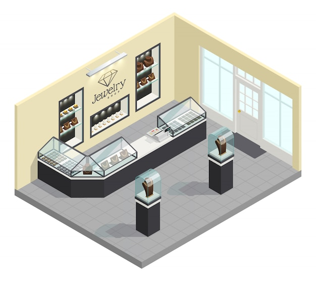 Jewelry shop isometric interior with female adornments in glass showcases without seller and buyers Free Vector