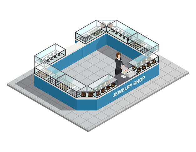 Jewelry shop isometric interior with seller behind counter with precious goods for women Free Vector