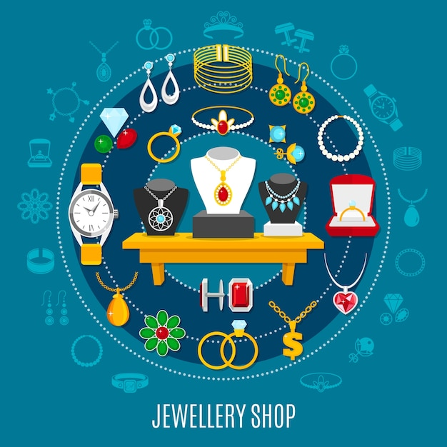 Jewelry shop round composition with female and male decorations including hand watch on blue background Free Vector