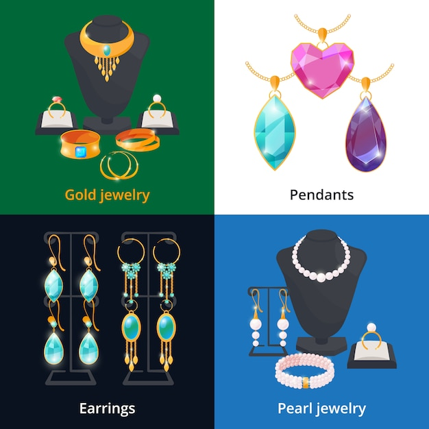 Jewelry shop with different luxury accessories. sapphire, diamond and golden bracelet Premium Vector