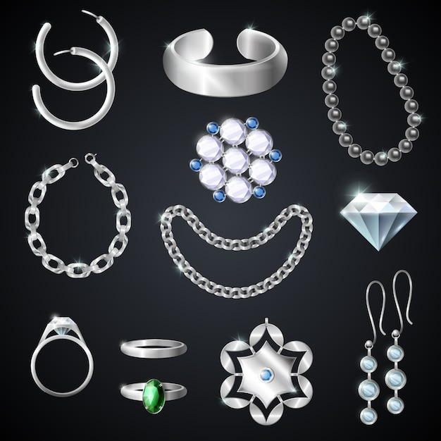 Jewelry silver set Free Vector