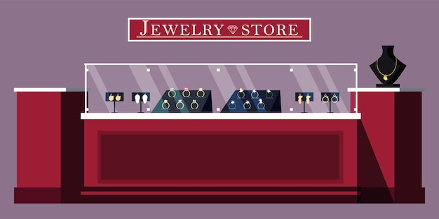 Jewelry store showcase   illustration. jewels shop banner template. bijouterie and gems boutique adv
