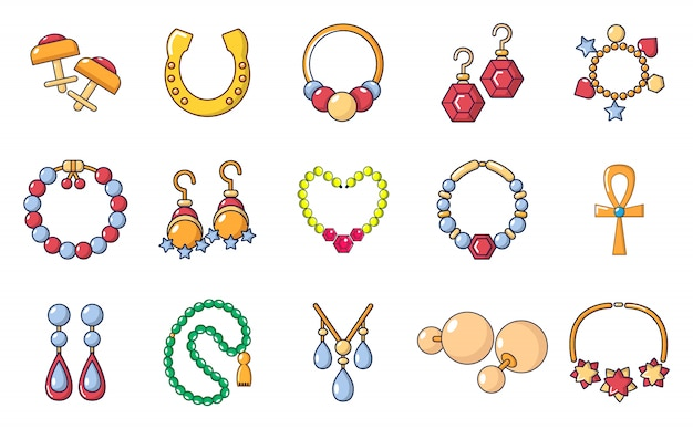 Jewerly icon set. cartoon set of jewerly vector icons set isolated Premium Vector