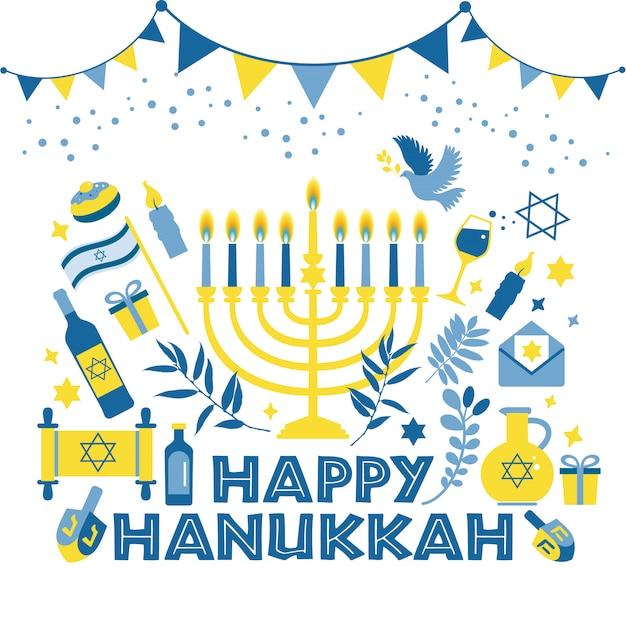 Jewish holiday hanukkah greeting card traditional chanukah. Premium Vector