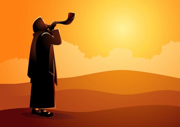 Jewish man blowing the shofar Premium Vector