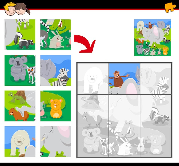 Jigsaw puzzle game with funny wild animals group Premium Vector