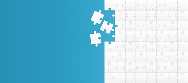 Jigsaw puzzle pieces, mosaic element background. Premium Vector