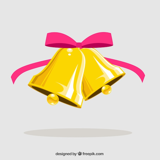Jingle bells with pink bow Free Vector