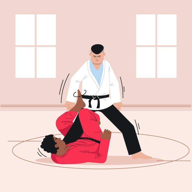 Atleti di jiu jitsu combattimenti Vettore gratuito