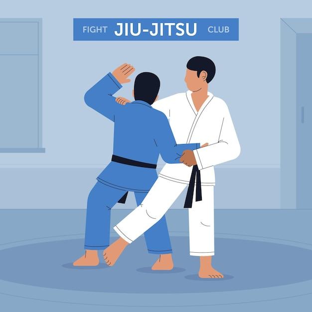 Jiu-jitsu club athletes fighting Free Vector