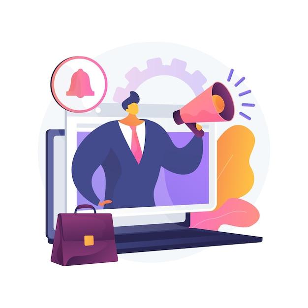 ジョブアラートの抽象的な概念図。求人通知、キャリアアラート、就職機会情報、オンライン応募状況、デジタル時間、人事サービス 無料ベクター