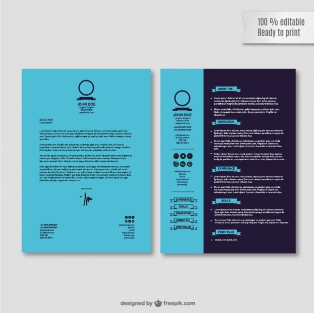 Job Application Resume Template Vector | Free Download