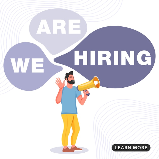 Job banner. man shouting on megaphone with we are hiring word. Premium Vector
