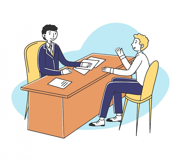 Job candidate and hr manager meeting for interview Premium Vector