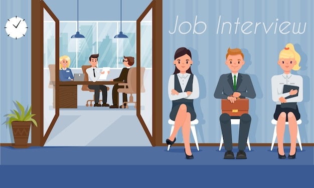 Job candidates wait interview turn with hr manager Premium Vector