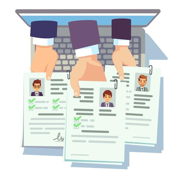 仕事の競争。候補者は履歴書を再開します。オンライン男性履歴書アプリケーション Premiumベクター