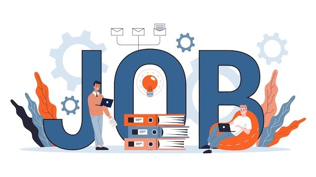 Концепция работы. ищите работника на работе. идея трудоустройства. человеческие ресурсы и собеседование, построение карьеры. иллюстрация Premium векторы