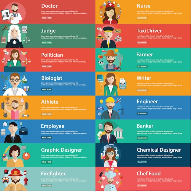 Job description cards Free Vector
