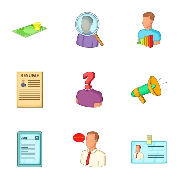 Job icons set, cartoon style Premium Vector