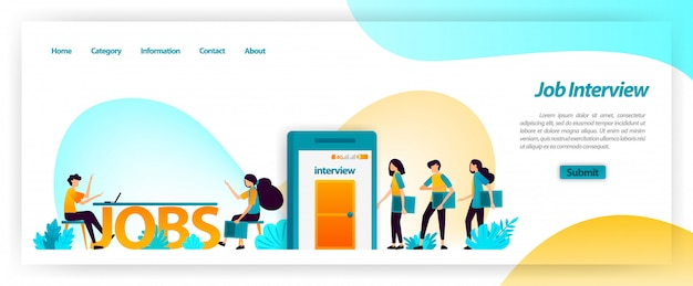 Job interview application in getting best young workers for company team. get, find and recruit and hiring employees. landing page web template Premium Vector