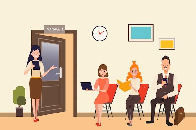 Job interview business human resource for employee. Premium Vector
