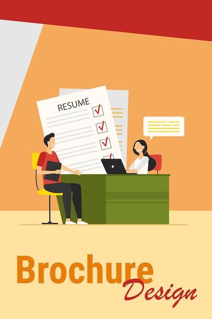 Концепция собеседования. встреча менеджера по персоналу с кандидатом с резюме для разговора. векторная иллюстрация для нового сотрудника, человеческих ресурсов, карьерных тем Бесплатные векторы