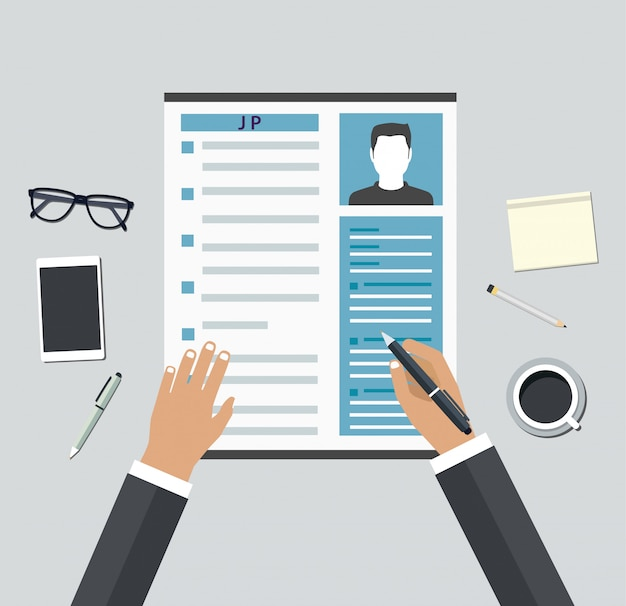 Job interview. consideration by profiles of personnel Premium Vector